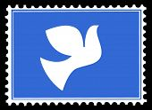 silhouette of the dove on postage stamps poster