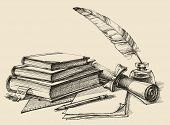 Stack of books, paper, pencil, scroll, quill pen and ink. Diploma, certificate, school, study, writing, literature, library design in vintage style poster