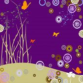 landscape with flying butterflies and grunge circles poster
