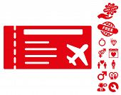 Airticket pictograph with bonus dating pictograms. Vector illustration style is flat iconic red symbols on white background. poster