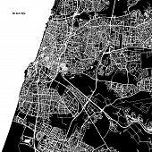 Tel Aviv-Yafo Vector Map Artprint. Black Landmass White Water and Roads. poster