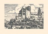 Vector illustration of medieval Katz Castle in vintage etching style. Sankt Goarshausen Rhine Gorge Rhineland-Palatinate Germany. poster