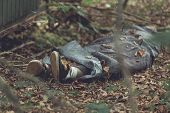 Murder victim wrapped in tarpaulin with feet protruding in leafy forest poster