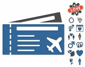 Airtickets pictograph with bonus dating pictures. Vector illustration style is flat iconic cobalt and gray symbols on white background. poster