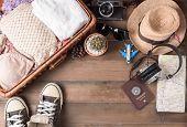Travel accessories costumes. Passports luggage vintage camera sunglasses wicker bag sneaker The cost of travel maps prepared for the trip poster