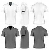 Men's slim-fitting short sleeve polo shirt. Front, back and side views of polo-shirts. White and black variants of clothes. Vector illustration. Fully editable handmade mesh. poster