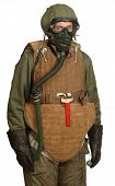 Reconstruction of a WW11 USAAF airman C.1944. He is wearing the Armor Flyer M1 vest with M3 groin apron. poster