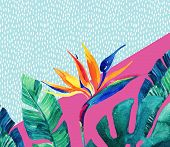 Abstract tropical summer design in minimal style. Watercolor exotic flowers palm leaves grunge textures doodles. Water color background with 80s or 90s elements. Hand painted illustration poster