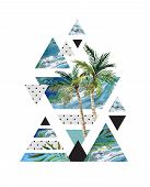 Abstract summer geometric poster design. Triangles with watercolor palm tree leaves marble grunge textures doodles. Water color background in retro vintage 80s or 90s. Hand painted illustration poster