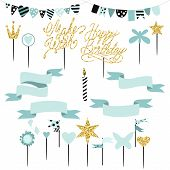 Set of decoration toppers candles and garlands with flags. Vector hand drawn illustration scandinavian style in mint colors with gold glittering elements. poster