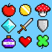 Set of minimalistic pixel art vector objects isolated. game 8 bit style. minimalistic pixel graphic symbols group collection. apple, coin, mushroom, diamond, sword, shield, potion, heart, lucky clever poster
