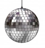 Disco ball isolated on white background poster