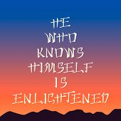 Poster template - he who knows himself is enlightened , sunset background, asian style lettering poster