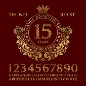 Happy anniversary celebration sign kit. Golden numbers alphabet frame and some words for creating congratulatory emblems. poster