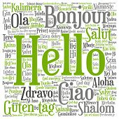 Concept or conceptual abstract hello or greeting international word cloud in different languages or multilingual metaphor to world, foreign, worldwide, travel, translate, vacation or tourism poster
