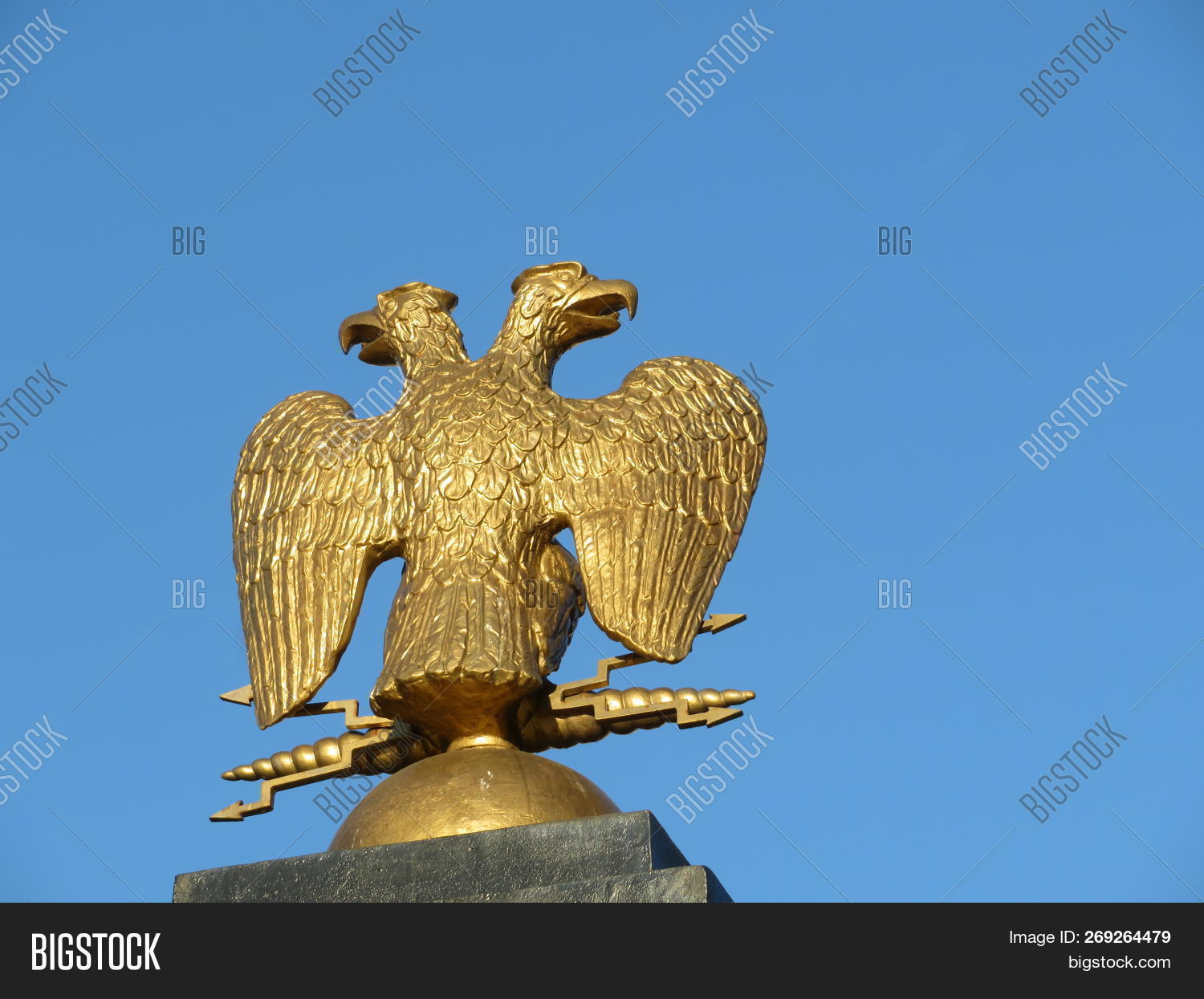 Two Headed Eagle On Blue Sky Background Russian Imperial Emblem Golden Double