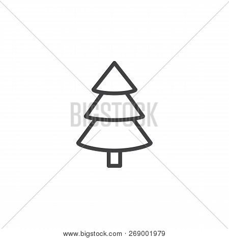 Spruce, Christmas Tree Outline Icon. Linear Style Sign For Mobile Concept And Web Design. Coniferous