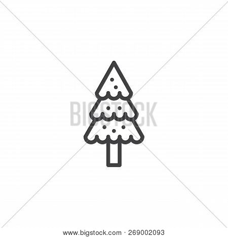 Snowy Spruce Tree Outline Icon. Linear Style Sign For Mobile Concept And Web Design. Coniferous Fore
