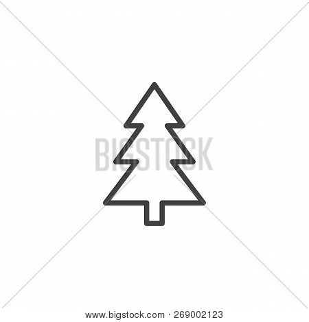 Xmas Tree Outline Icon. Linear Style Sign For Mobile Concept And Web Design. Coniferous Forest Simpl