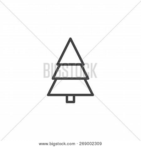 Fir Tree Outline Icon. Linear Style Sign For Mobile Concept And Web Design. Coniferous Forest Simple