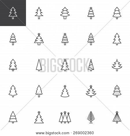 Christmas Tree Outline Icons Set. Linear Style Symbols Collection, Line Signs Pack. Vector Graphics.
