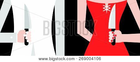 Backstabbing White Suit Man And Red Dress Woman,hiding Hand Which Carrying Knife, Flat Design Vector