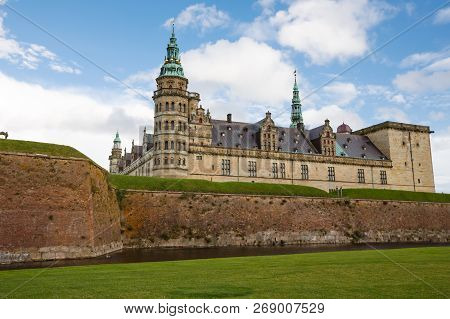 Exterior View Of The Historical Kronborg Castle In Helsingor, Denmark.