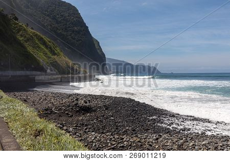 View Of The Northern Coastline Of Madeira, Portugal, In The Sao Vicente Area
