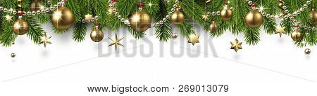 Christmas And New Year Banner With Fir Branches And Gold Christm