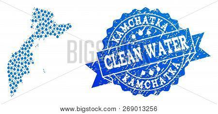 Map Of Kamchatka Peninsula Vector Mosaic And Clean Water Grunge Stamp. Map Of Kamchatka Peninsula Cr