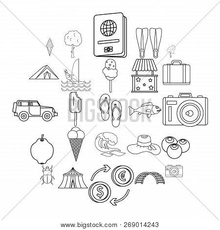 Shore Icons Set. Outline Set Of 25 Shore Vector Icons For Web Isolated On White Background