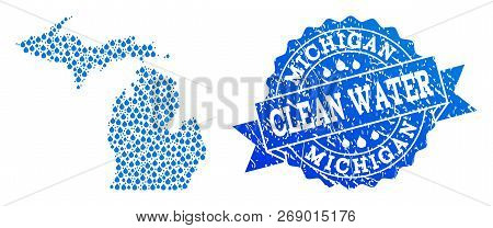 Map Of Michigan State Vector Mosaic And Clean Water Grunge Stamp. Map Of Michigan State Composed Wit