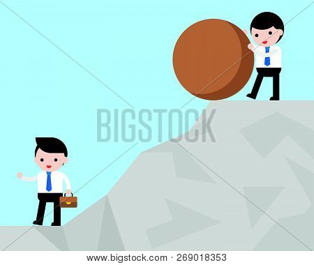 Businessman Try To Defeat His Competitor By Pushing Rock Falling From Hill To Him, Unfair And Unethi