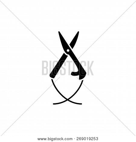 Black & white vector illustration of pincer scissors. Flat icon of tweezers shears for handicraft. Craft tool. Isolated object on white background poster