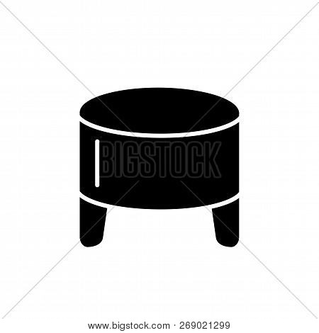 Black & White Vector Illustration Of Round Leather Ottoman, Pouf. Flat Icon Of Accent Stool Or Chair