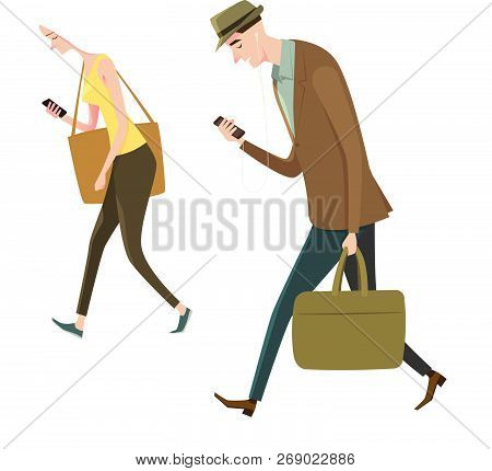 Full Length Portrait Of People Walking And Texting Or Talking On The Smart Phone. Vector Illustratio