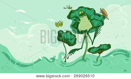 The Frog On A Lotus Leaf Relaxed Have A Crown On The Head, Illustrations For Books, Cards, Wallpaper