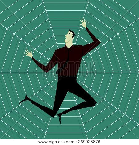 Abstract Business Concept Of Despondent, The Man Be Trapped On Cobweb. Vector Illustration Flat Styl