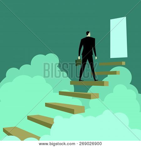 Businessman Climbing Ladders Above Cloud, Metaphor Or Symbol Of Overcoming Adversity In Strategy And