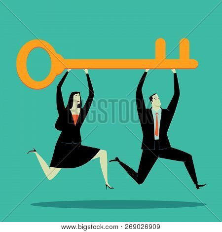 Businessman Holding Key, Metaphor Or Symbol Of Overcoming Adversity In Strategy And Finding Leadersh