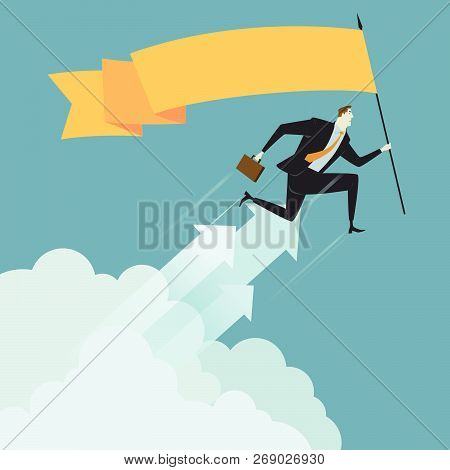 Businessman Hold Flag Above Cloud, Metaphor Or Symbol Of Overcoming Adversity In Strategy And Findin