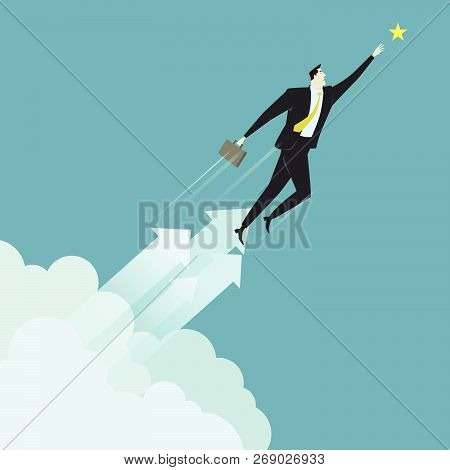 Businessman Grabbing The Star Above Cloud, Metaphor Or Symbol Of Overcoming Adversity In Strategy An