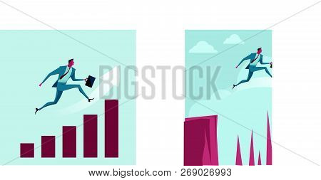 Businessman Jumping Over The Chart. Metaphor Or Symbol Of Overcoming Adversity In Strategy And Findi