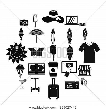Tourist Shopping Icons Set. Simple Set Of 25 Tourist Shopping Vector Icons For Web Isolated On White
