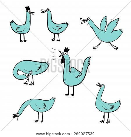 Vector Illustration Set Design Different Emotion Of Duck. Hand Draw Doodle Style.
