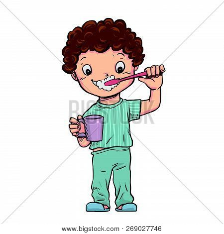 The Boy Stood Brushing Their Teeth And Holding A Glass Of Water.