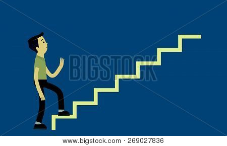 The Boy Was Walking Up The Stairs. Vector Illustration.