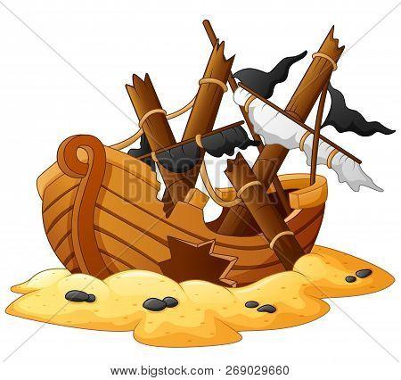 Vector Illustration Cartoon Of The Broken Shipwreck