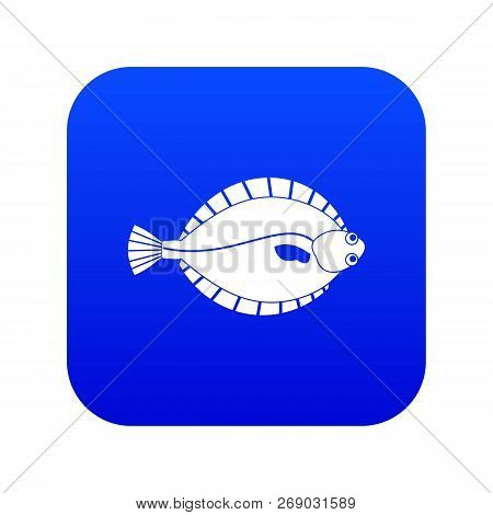 Flounder Icon Digital Blue For Any Design Isolated On White Vector Illustration