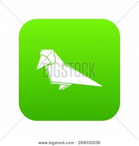 Origami Bird Icon Green Vector Isolated On White Background